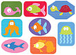 Applique Fabric With Cartoons Water Animals.Vector Fishes On White stock vector