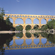 Aqueduct Pont du Gard, France stock photo