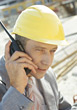 Architect In Hardhat Talking On Phone stock photo