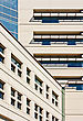 Architectural Detail Of An Office Building, With Intersecting Wall Planes stock photo