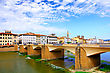 Arno River In Florence (Firenze), Tuscany, Italy. Panorama stock photo