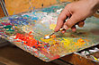 Artist Mixes Oil Paints With A Spatula.Horizontal Images, Close-up stock photo