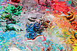 Artist's Palette For Mixing Colors, Close-up stock photo