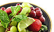 Assortment Of Fresh Fruits On A Plate , Close Up stock photo