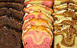 Assortment Of Loaf Cake Slices , Double Chocolate ,raspberry Swirl And Cinnamon Swirl stock photo