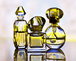 Assortment Of Perfume Bottles , Close Up stock photo
