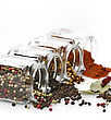 Assortment Of Spices In The Glass Jars stock photography