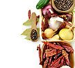 Assortment Of Spices In Wooden Bowls stock image