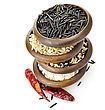 Oriental Assortment Of Rice In Wooden Bowls stock photo