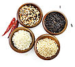 Assortment Of Rice In Wooden Bowls stock image