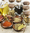 Assortment Of Spices Cooking Oil And Vinegar stock photo