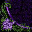 Asymmetrical Black Background With Ornaments And Purple Roses stock illustration