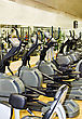 Athletic Xtrainer Machines In The Fitness Club stock photo