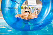 Attractive Blond Woman Posing With Rubber Ring In Swimming Pool stock photography