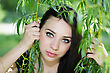 Hypnotic Attractive Caucasian Woman Posing In The Branches stock photography