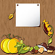 Autumn Background. Empty Blank On The Wooden Background With The Space For Your Text. Thanksgiving Card