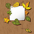 Autumn Background With Leaves. Empty Blank On The Wooden Background With The Space For Your Text. Thanksgiving Card
