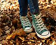 Autumn Casual Clothing Coloured Sneakers And Jeans stock photo