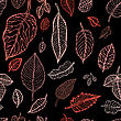 Autumn Falling Leaves Background. Seamless Vector Pattern