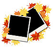 Autumn Frame With Blank Photograph And Maple Leaves Over And Under It. Over White Background. Elegant Design With Text Space And Ideal Balanced Colors. Vector Illustration