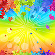 Autumn Frame With Falling Maple Leaves In Rainbow Colors And Sun Beams Over Rainbow Background. Elegant Design With Ideal Balanced Colors. Vector Illustration