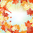 Autumn Frame With Falling Maple Leaves On Sky Background. Elegant Design With Rays Of Sun And Ideal Balanced Colors. Vector Illustration