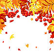 Autumn Frame With Maple, Rowan And Dog Rose Leaves And Berries Over White Background. Elegant Design With Text Space And Ideal Balanced Colors. Vector Illustration