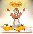 Autumn Girl With Apples And Pumpkins stock vector