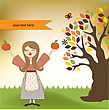 Harvest Autumn Girl With Apples And Pumpkins stock illustration