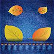 Autumn Leaves On Realistic Blue Jeans Texture For Your Design stock illustration