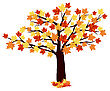 Autumn Maple Tree With Falling Leaves On White Background. Elegant Design With Ideal Balanced Colors. Vector Illustration stock illustration