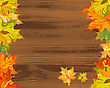 Autumn Maple Tree Leaves On Wooden Plank. Vector Illustration.