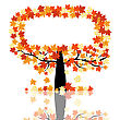 Autumn Maples Falling Leaves Background. Vector Illustration. stock vector