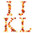 Autumn Maples Leaves Letter Set. Vector Illustration. stock vector