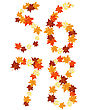 Autumn Maples Leaves Letter Set. Vector Illustration.