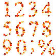 Autumn Maples Leaves Numeral Set. Vector Illustration.