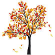 Autumn Oak Tree With Falling Leaves. Vector Illustration.
