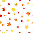 Autumn Seamless Pattern With Falling Maple Leaves On White Background. Elegant Design With Ideal Balanced Colors. Ideal For Fall Season Designs. Vector Illustration
