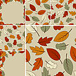 Autumn Vector Set: 2 Frames And 4 Seamless Patterns With Autumn Leaves
