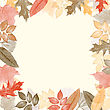 Autumn Watercolor Frame With Leaves. Vector Illustration