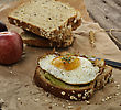 Avocado Breakfast Sandwich With Fried Egg stock image