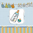 Baby Announcement Card With Milk Bottle And Pacifier stock vector