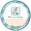 Baby Announcement Card With Milk Bottle And Pacifier stock illustration