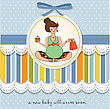 Baby Announcement Card With Pregnant Woman, Vector Illustration