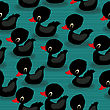 Baby Black Ducks Seamless Pattern Design