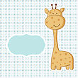 Baby Boy Arrival Card With Cute Giraffe On Polka Dot Seamless Pattern stock vector