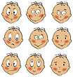 Baby Boy Faces Collection On White Background, Vector Illustration