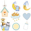 Baby Boy Items Set In Vector Format Isolated On White Background stock vector