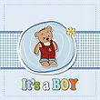 Baby Boy Shoawer Card With Teddy Bear