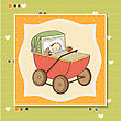 Baby Boy Shower Card With Retro Strolller, Vector Illustration